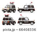 パトカー、警察車両、SUV、4WD、四駆、パトロールカー、イラスト、セット 66408336