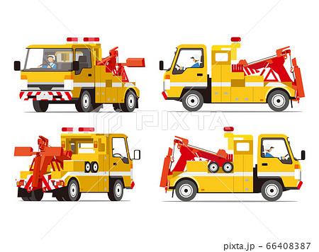 レッカー車、ドーリー、牽引、ロードサービス、イラスト、セット 66408387
