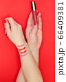 Lipstick makeup swatches on woman female hand holding lipstick 66409381