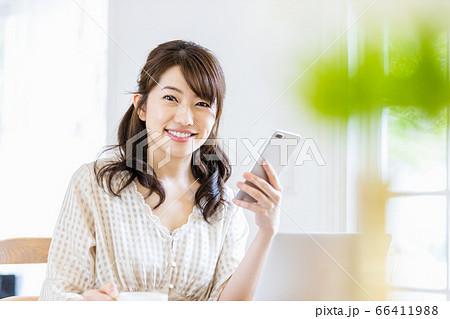 明るい室内でデスクワークをする女性(カメラ目線) 66411988