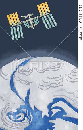 国際宇宙ステーションと地球の水彩イラスト 66414257