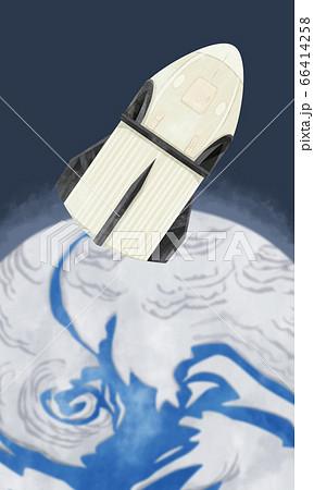 宇宙ロケット補給機と地球の水彩イラスト 66414258