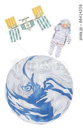 宇宙飛行士と地球とISSの水彩イラスト 66414259
