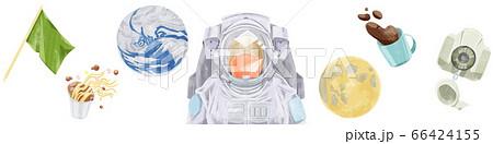無重力空間で漂う地球と宇宙飛行士 66424155