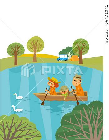 アウトドア ボートで遊ぶファミリー 66431041