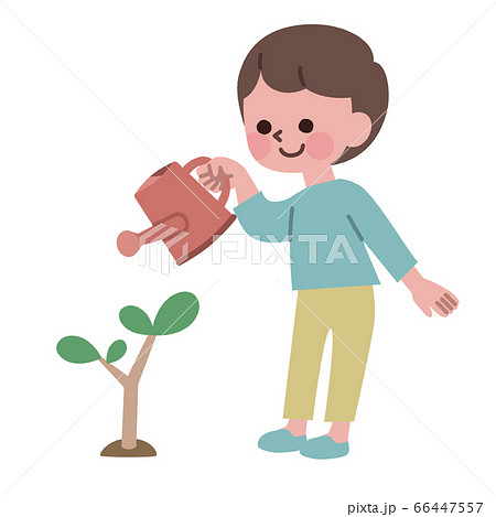 木にじょうろで水をあげる男の子 66447557
