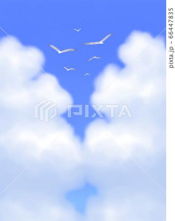 カモメが飛ぶ、モクモク雲のある青空・縦長 66447835