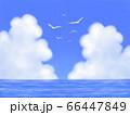 カモメが飛ぶ、モクモク雲のある青空と海・横長 66447849