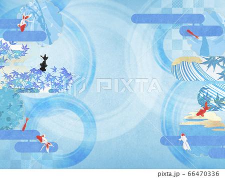 和風背景素材-清涼感を感じるイラスト-優雅に泳ぐ金魚 66470336