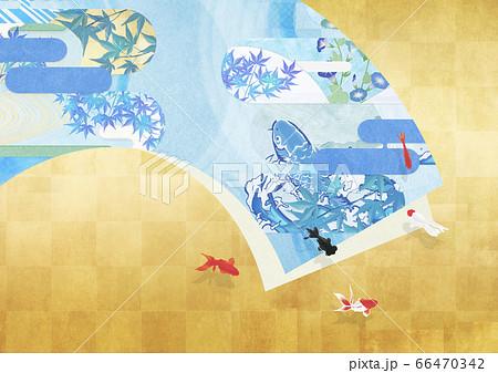 清涼感のある日本画のような絵が描かれた扇 66470342