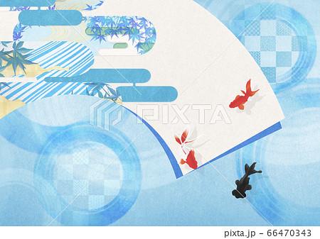 清涼感のある日本画のような絵が描かれた扇 66470343