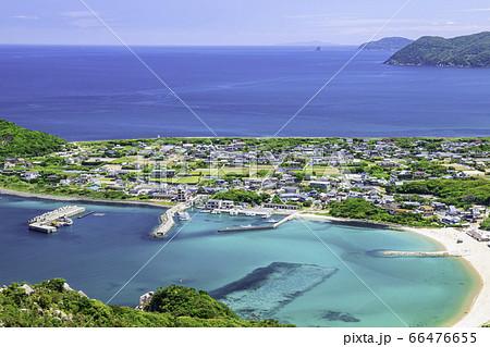 立石山から見た糸島の美しい風景 芥屋の町並み 福岡県糸島市 66476655