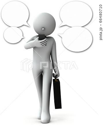 歩きながら通話するビジネスマン。3Dレンダリング。 66480710