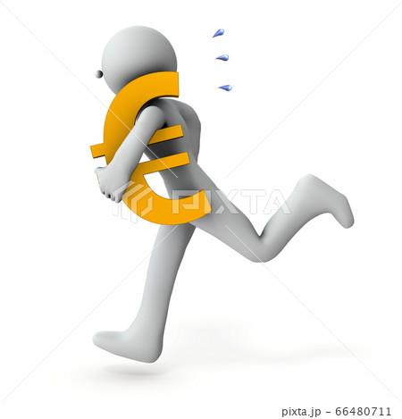 資金繰りに奔走するキャラクター。(3Dイラスト) 66480711