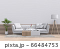 Living room interior in modern style, 3d render with sofa and decorations. 66484753