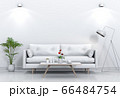 Living room interior in modern style, 3d render with sofa and decorations. 66484754