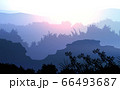 Natural forest mountains horizon hills silhouettes of trees. Evening Sunrise and sunset. Landscape wallpaper. Illustration vector style. Colorful view background. 66493687