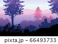 Natural forest mountains horizon hills silhouettes of trees. Evening Sunrise and sunset. Landscape wallpaper. Illustration vector style. Colorful view background. 66493733