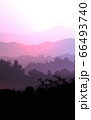 Natural forest mountains horizon hills silhouettes of trees. Evening Sunrise and sunset. Landscape wallpaper. Illustration vector style. Colorful view background. 66493740
