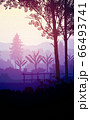 Natural forest mountains horizon hills silhouettes of trees. Evening Sunrise and sunset. Landscape wallpaper. Illustration vector style. Colorful view background. 66493741