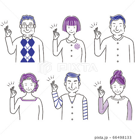 手描き1color シニアの男女 6人 上半身  OK 66498133