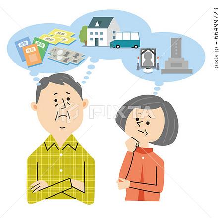 生前整理について考えるシニア夫婦 66499723