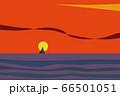 夕日が沈む大海原とヨットのシルエット 単純化された風景 66501051