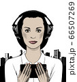 Face of a young woman on headphones. 66507269