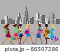Women in a modern city, metropolis. 66507286