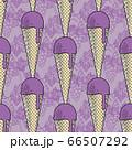 Grape ice cream in a waffle cone. 66507292