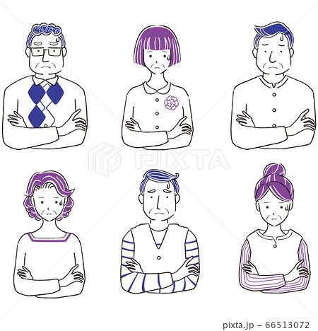 手描き1color シニアの男女 6人 上半身 悩む 66513072