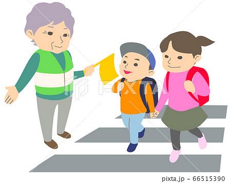 【マスク無】横断歩道で小学生の通学を見守るおばあさん - 主線なし・長袖・春・秋・冬 66515390