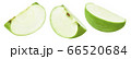 Green apple slices set isolated on white background 66520684