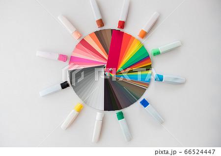 絵を描く用の絵の具と丸型展開のカラフルな配色カード 66524447