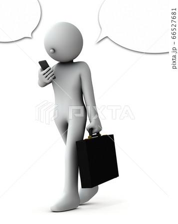 歩きながら通話するビジネスマン。3Dレンダリング。 66527681