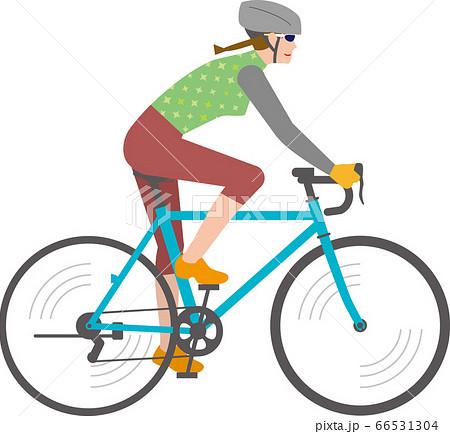 ロードバイク自転車に乗る女性 66531304