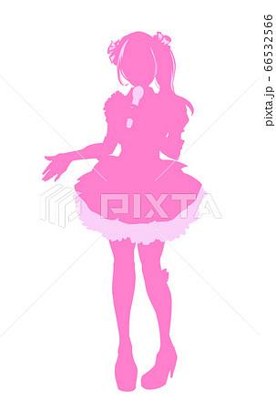 アイドル女性のシルエットイラスト素材 66532566