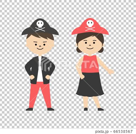 一個男孩和一個女孩在海盜服裝的插圖 66538567