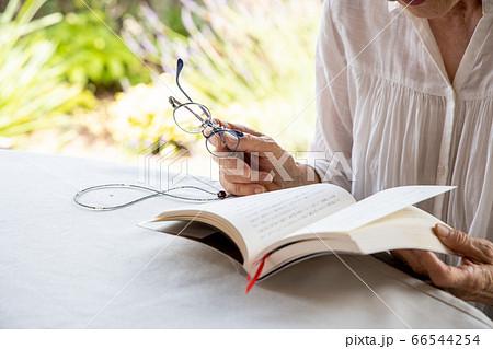 老眼鏡をもって読書しようとしている高齢女性 66544254