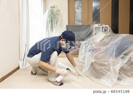室内に殺虫剤を散布する害虫駆除の作業員 66545196