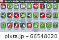 Basic protective measures against coronavirus disease COVID-19 icon set 66548020