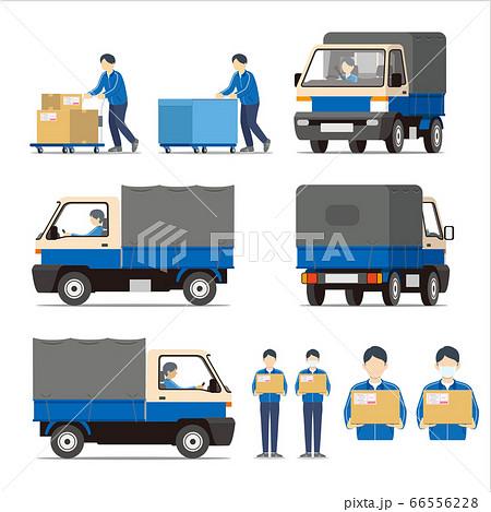 宅配便、車両、トラック、台車、スタッフ、セット 66556228
