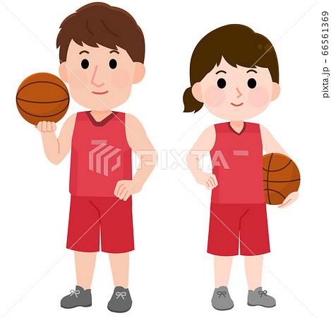 バスケットボールをする 男性 女性 立つポーズ イラスト 66561369