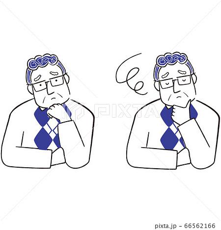 手描き1color シニアの男性眼鏡 悩む 66562166