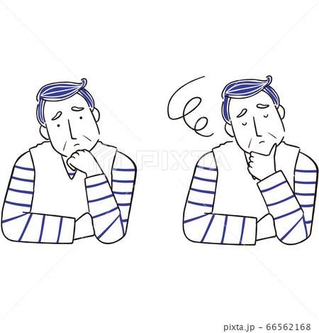 手描き1color シニアの男性眼鏡 カジュアル 悩む 66562168