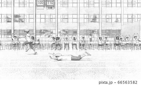 学校 運動会 リレー スタート 観客有り 建物有り イラスト8 66563582
