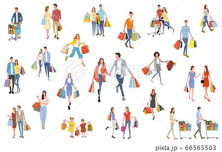 イラスト素材:ショッピング、買い物を楽しむ人々 66565503