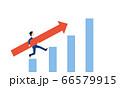 矢印を持つビジネスマン、売上アップのイメージ 66579915