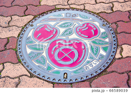iida , manhole in the city center, representing the main industry of the region 66589039