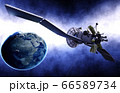 Satellite in space. view of the earth. Sunrise. 3d rendering. 66589734